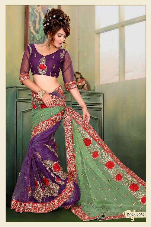 Pastel Green and Purple Crush Net Saree with Blouse