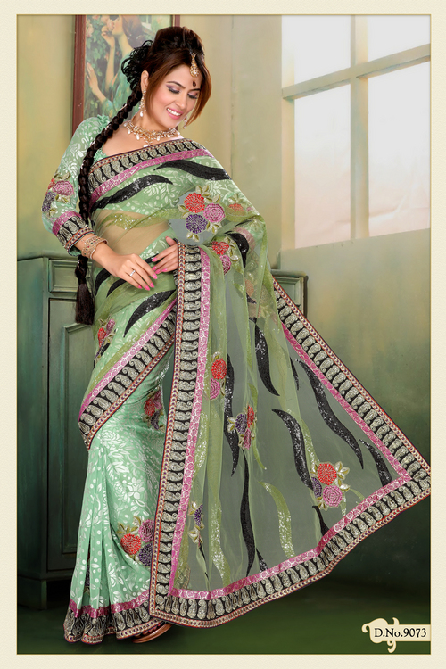 Pastel Green Net, Brasso Saree with Blouse