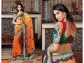 Yellow and Orange Two Tone Bemberg Faux Georgette Saree