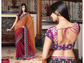 Light Orange and Pink Bemberg Faux Georgette Saree