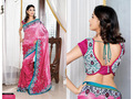 Shaded Pink China Silk Saree with Blouse