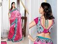 Shaded Pink China Silk Saree with Blouse