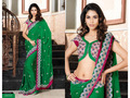 Green Bemberg Faux Georgette Saree with Blouse
