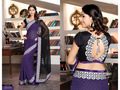 Black and Purple Bemberg Faux Georgette Saree