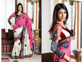 Pink and Cream China Silk Saree with Blouse