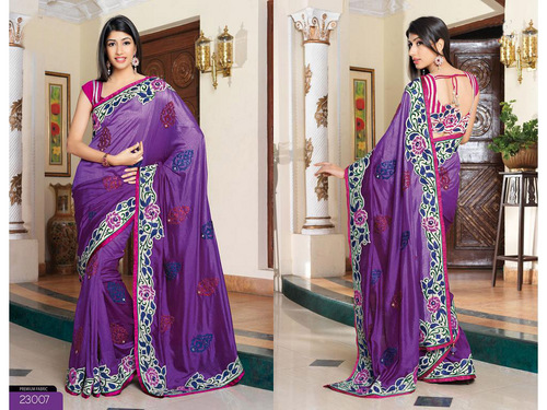 Purple China Silk Saree with Blouse