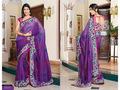 Purple China Silk Saree with Blouse