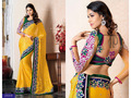 Yellow Faux Chiffon Saree with Blouse