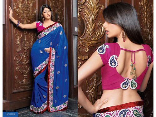 Blue China Silk Saree with Blouse
