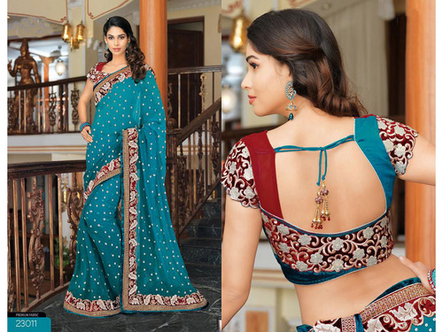 Teal Blue Bemberg Faux Georgette Saree with Blouse