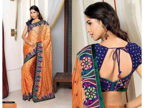 Light Orange Bemberg Pashmina Silk Saree with Blouse