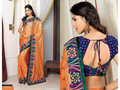 Light Orange Bemberg Pashmina Silk Saree with Blouse