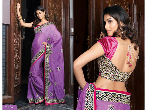 Purple Bemberg Faux Georgette Saree with Blouse
