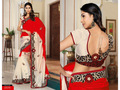 Red and Cream China Silk Saree with Blouse