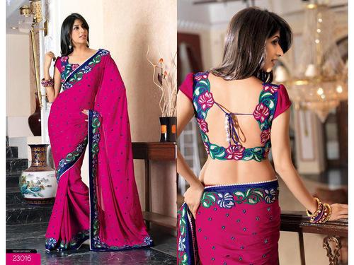 Deep Fuschia Pink Faux Chiffon Saree with Blouse