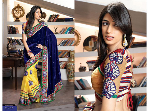 Deep Blue and Yellow Velvet and Faux Crepe Saree