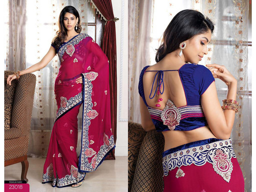 Deep Pink Bemberg Faux Georgette Saree with Blouse