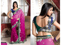 Fuschia Pink Bemberg Faux Georgette Saree