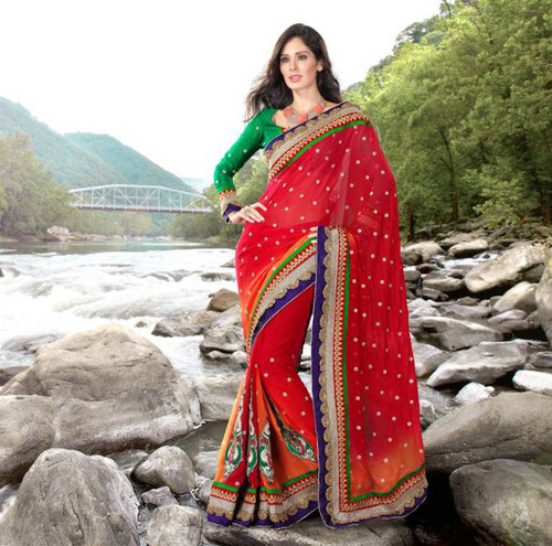 Red and Orange Faux Chiffon Saree With Blouse