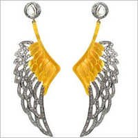 Angle Wings Pave Diamond Gold Dangle Earrings