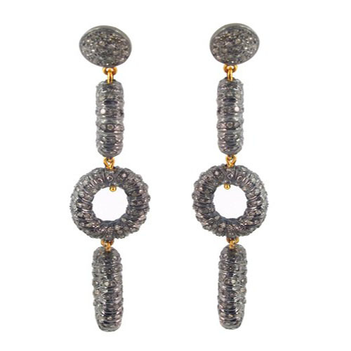 14k Gold Pave Diamond Silver Dangle Earrings