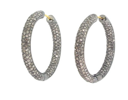 Silver Diamond Pave Hoop Earrings