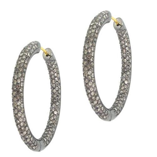 Sterling Silver Gold Diamond Pave Hoop Earrings