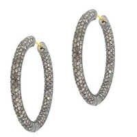 纯银金金刚石铺箍耳环