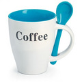 promotional ceramic mug with spoon
