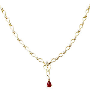 Designer Solid Gold Diamond Chain With Drop Ruby