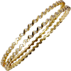 Twisted Yellow Gold Diamond Bangles