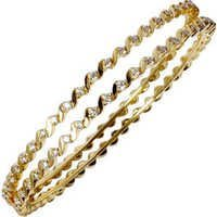 Twisted Yellow Gold Diamond Bangles