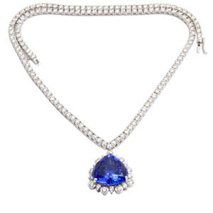 Real Diamond Tanzanite Heavy Necklace For Party