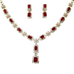 Indian Ruby Necklace Earrings For Export