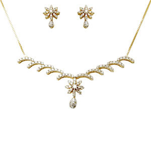 Small Diamond Earrings Necklace Set