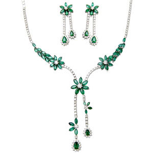 Designer White Gold Emerald Gemstone Necklace Set
