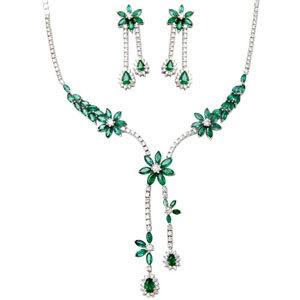 Designer White Gold Emerald Gemstone Necklace Set