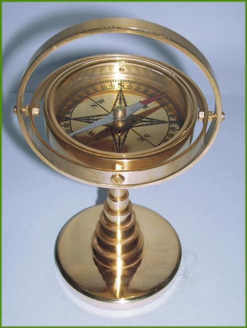 Solid Brass Gimbaled Desk Compass