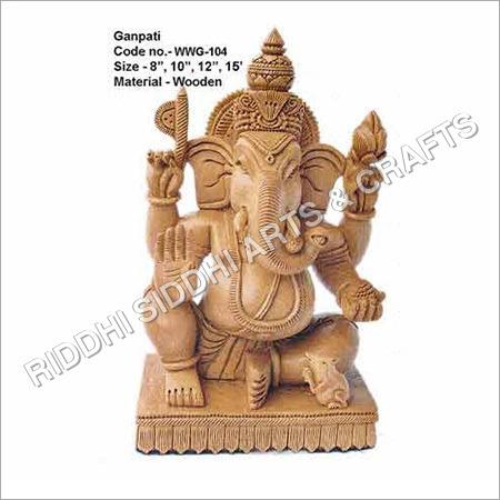 White Wood Ganesha Statue