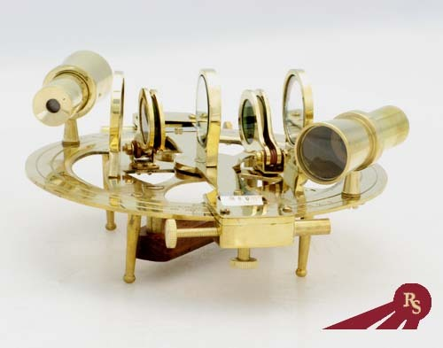 Round Nautical Sextant with Wooden Box 8