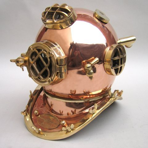 Solid Copper Diver's Helmet Clock - MK V Style