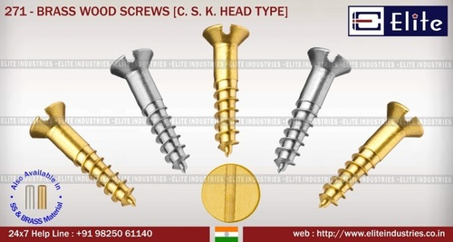 Brass Wood  Screw C. S. K. Head Type