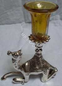 White Metal Candle Stand on Camel