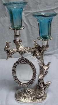 twin white metal candel stand with mirror
