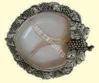 White Metal leaf bowl