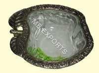 White Metal bowl apple design