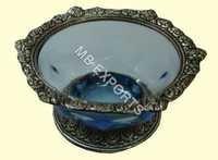 White Metal Blue Round Bowl Design