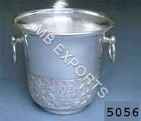 metal bucket on handwork