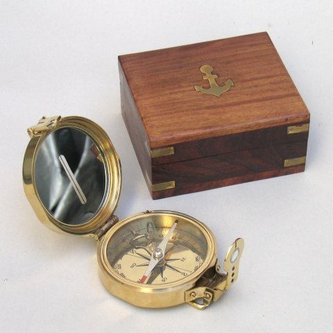 Nautical Vintage Brass Polished Compass With Box