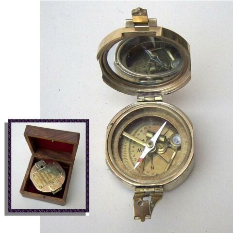 Nautical Brass Brunton Level Compass With Box